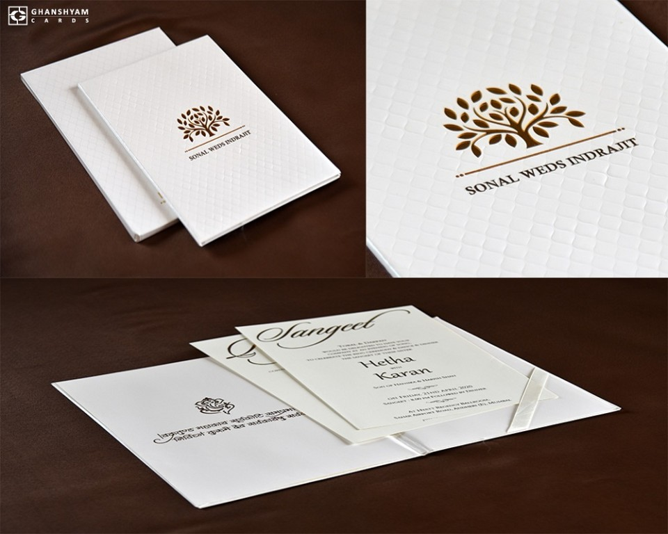 Tree Lasercut Wedding Card Design RB 1685 WHITE