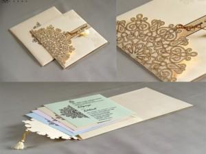 Budget Designer Wedding Card RB 1708 CREAM