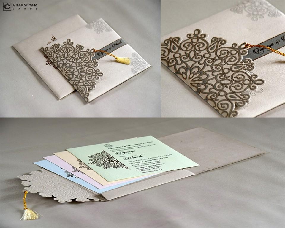 Budget Designer Wedding Card RB 1708 GREY