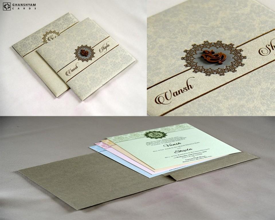 Budget Wedding Card RB 1738 GREY