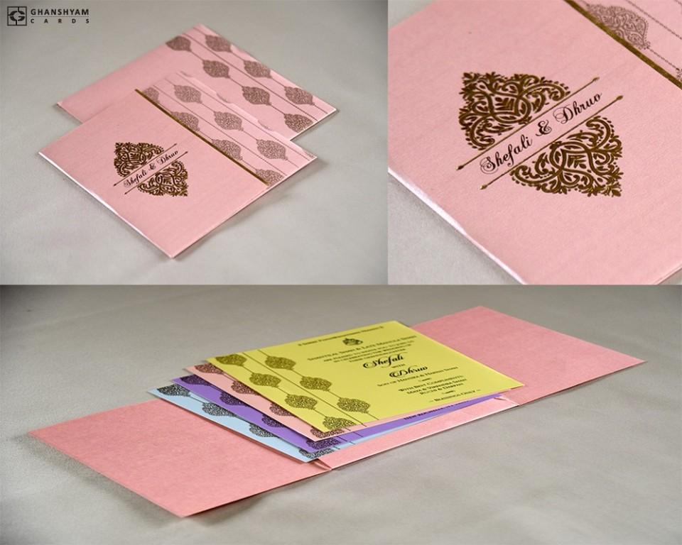 Budget Light Weight Wedding Card RB 1742 PINK