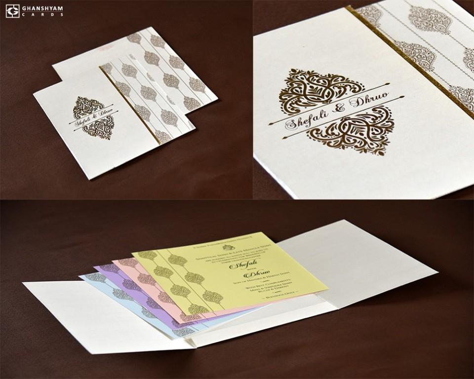 Budget Light Weight Wedding Card RB 1742 WHITE