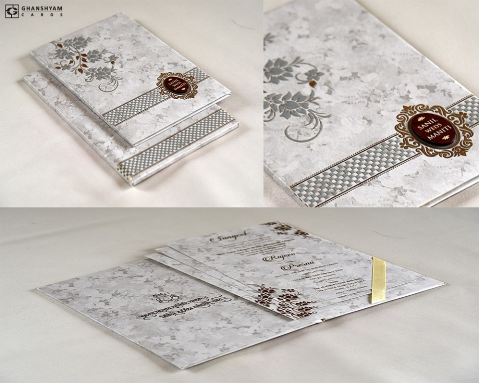 Padded Wedding Card Design RB 1746 GREY