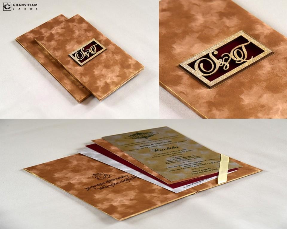 Padded Wedding Card Red Velvet RB 1754 GOLDEN