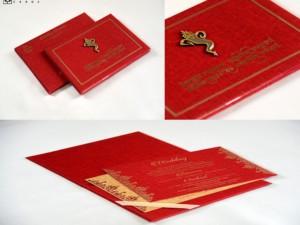 Ganesh Shlok Traditional Padded Wedding Card RB 1758 RED