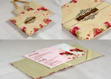 Floral Theme Bag Style Wedding Card RB 1762