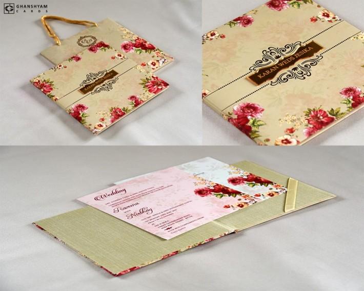 Floral Theme Bag Style Wedding Card RB 1762