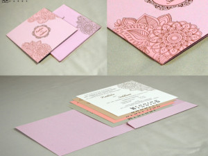 Light Weight Wedding Card RN 2419 PEACH