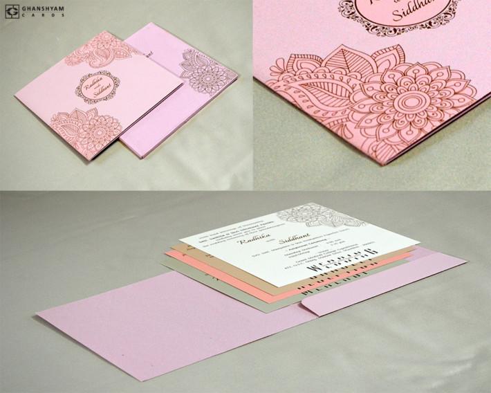 Light Weight Wedding Card RN 2419 PEACH