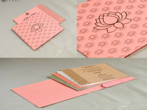 Lotus Theme Wedding Card RN 2443 PEACH