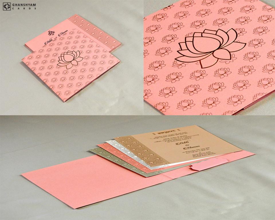Lotus Theme Wedding Card RN 2443 PEACH
