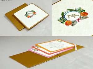 Parrot and Flower Theme Wedding Card RN 2502