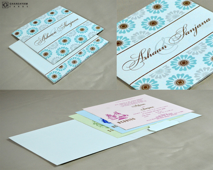 Pastel Blue Wedding Card RN 2505 BLUE