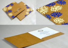 Brown Khakhi Paper Wedding Card Design RN 2513 BLUE