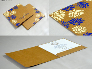 Brown Khakhi Paper Wedding Card Design RN 2513 BLUE