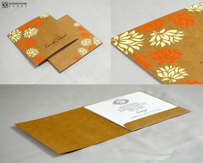 Brown Khakhi Paper Wedding Card Design RN 2513 ORANGE