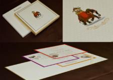 Padded Royal Elephant Theme Wedding Card RN 2540