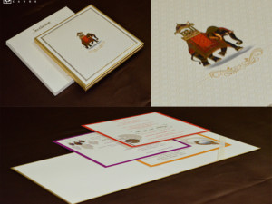 Padded Royal Elephant Theme Wedding Card RN 2540
