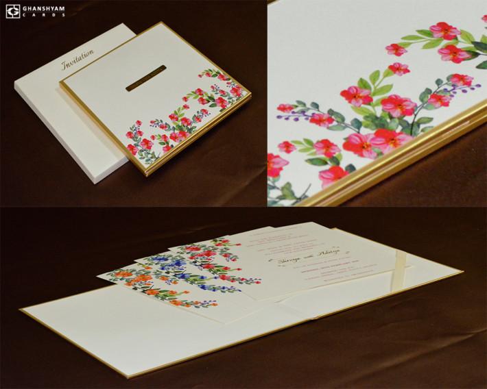 Padded Floral Theme Wedding Card Design RN 2541