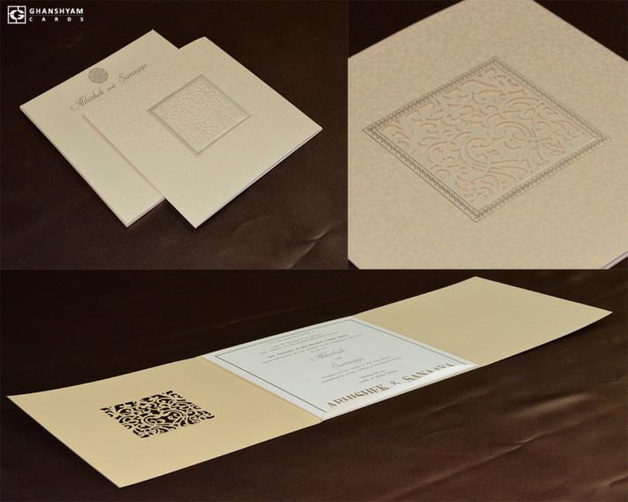 Laser Cut Wedding Card Design RN 2556 GOLD