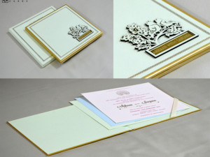 Parrot Theme Lasercut Wedding Card RN 2561