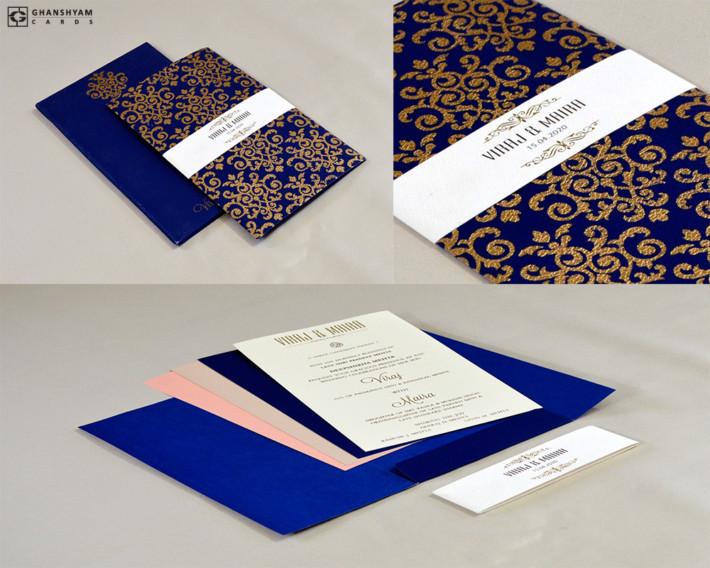 Designer Wedding Card RN 2573 BLUE