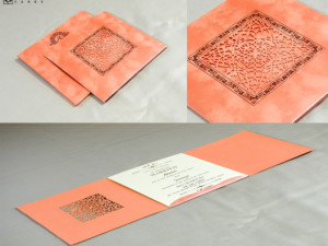 Laser Cut Wedding Card Design RN 2577 PEACH