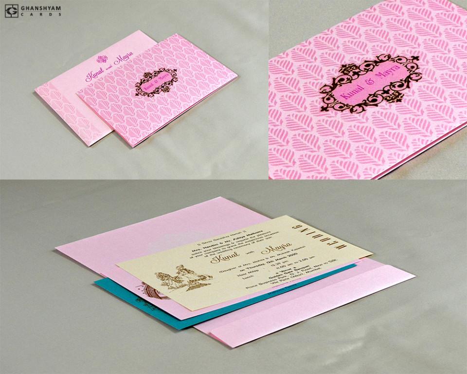 Designer Budget Wedding Card RN 2582 PINK